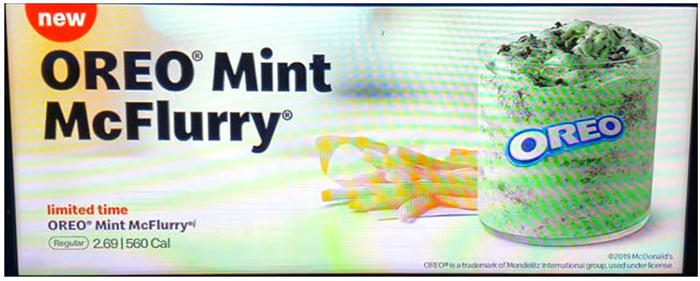 Screenshot of the Oreo Mint McFlurry from video