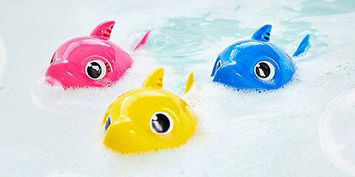 Baby Shark Bath Toys in bubbly water