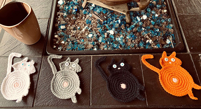 amazon crochet cat butt coasters colors