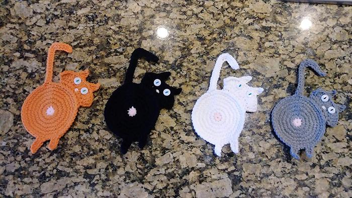 amazon crochet cat butt coasters four colors