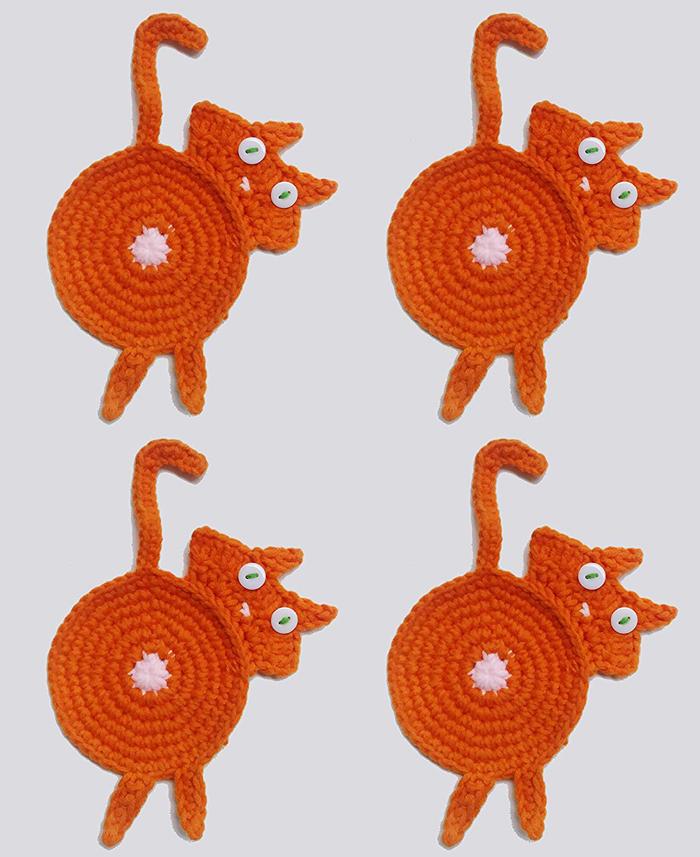 amazon crochet cat butt coasters orange