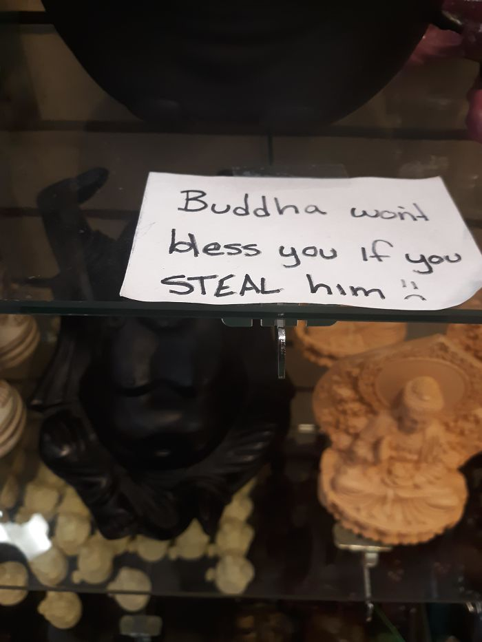 bad customers stolen buddha figurine