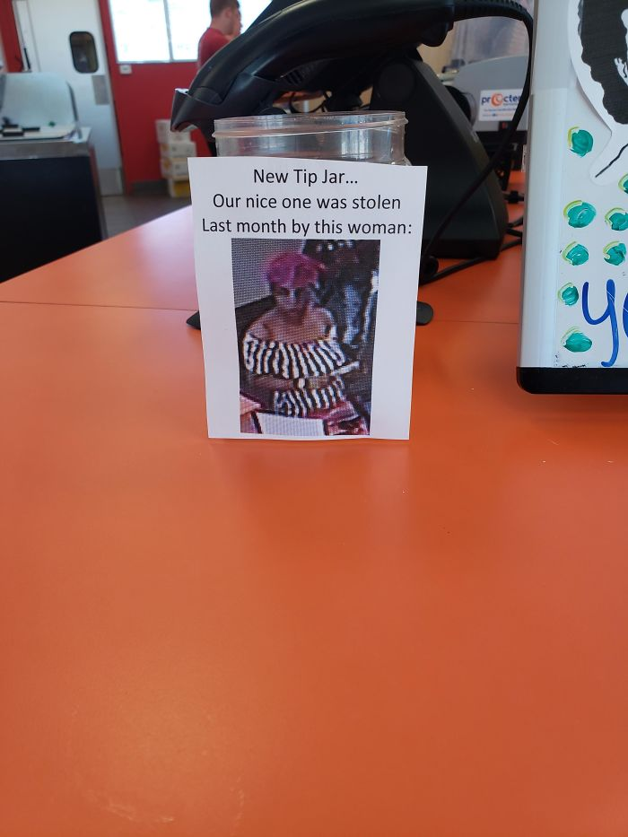 bad customers tip jar thief