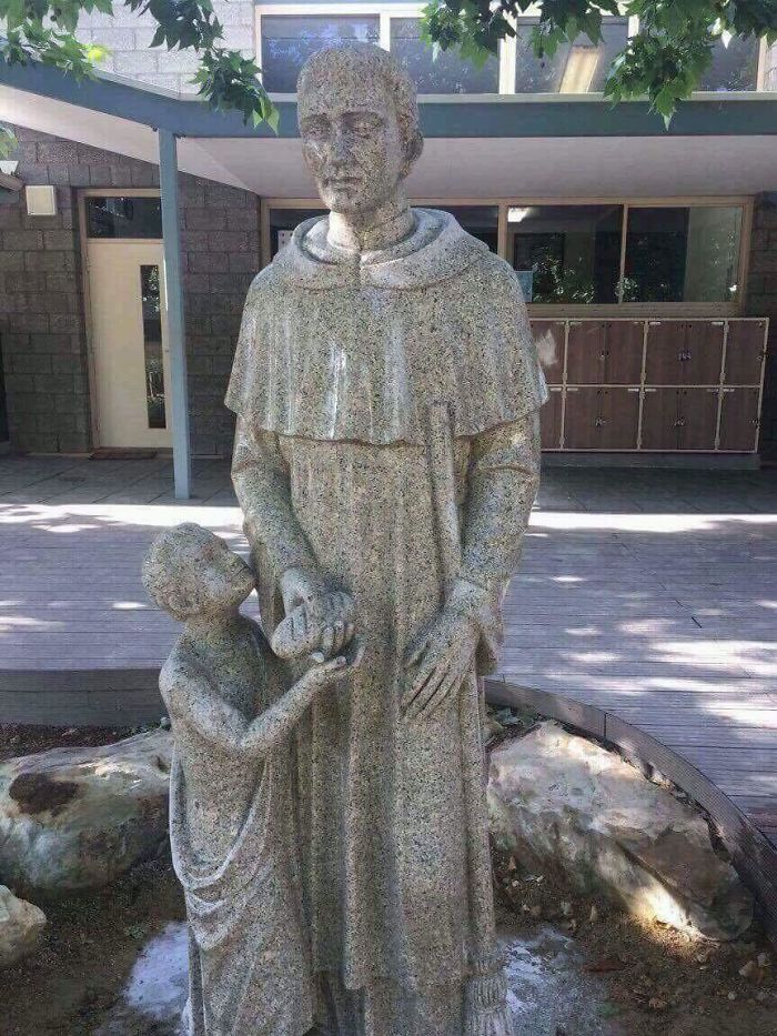 bad school designs catholic lewd-looking statue