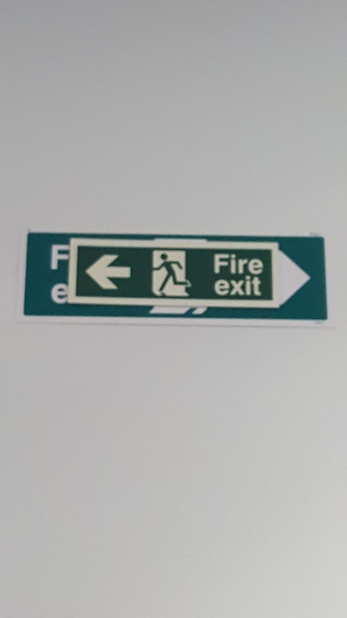 bad school designs confusing fire exit sign