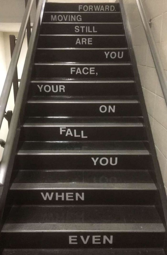 bad school designs staircase inspiring message