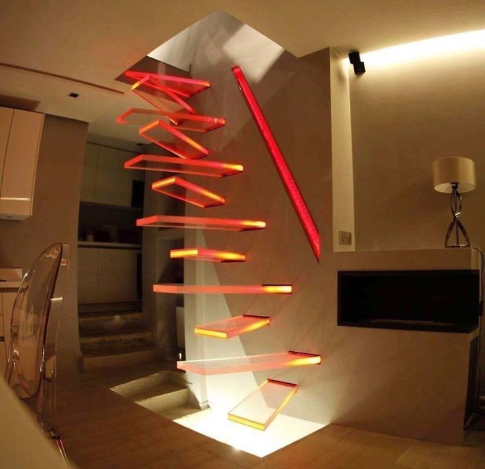 bad stair designs suspended transparent glass steps
