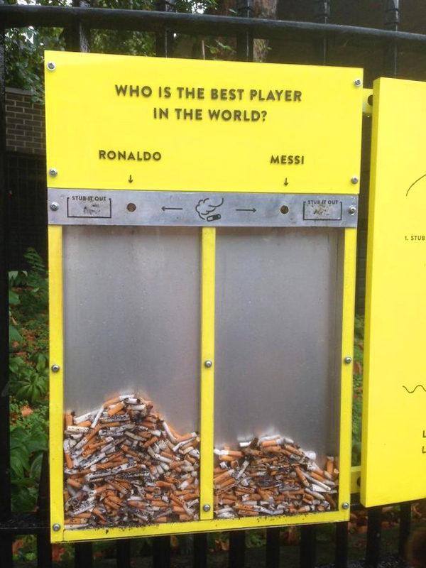 clever eco-friendly ideas cigarette voting bin