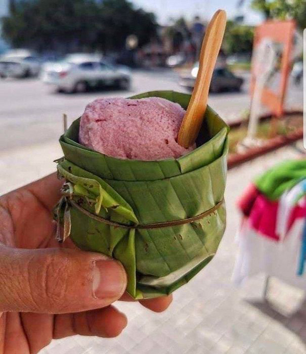 clever eco-friendly ideas ice cream cup banana leaves