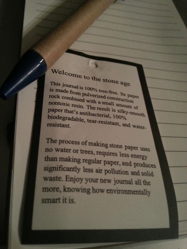 clever eco-friendly ideas stone notebook