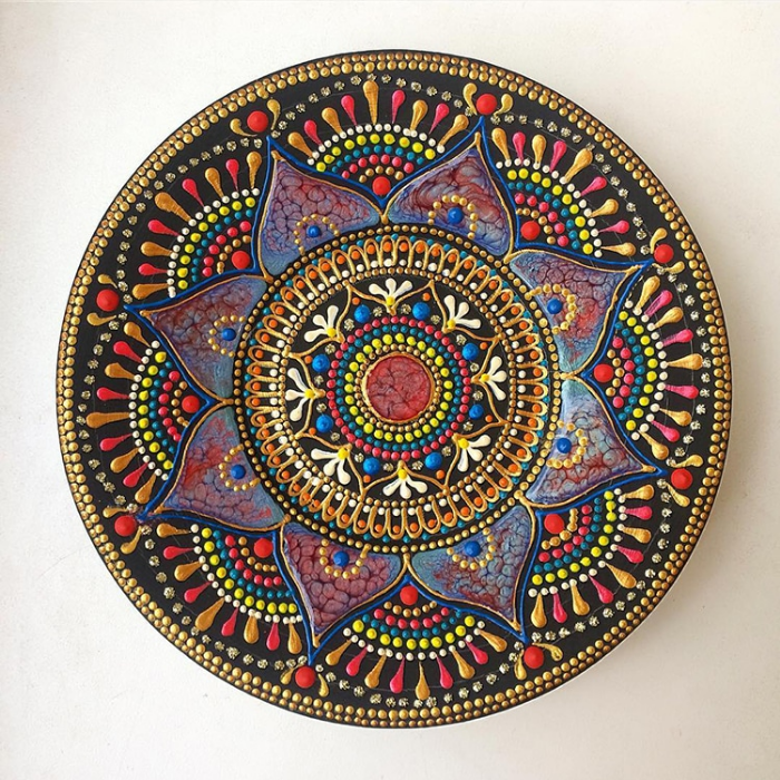 complex patterns mandala art ceramic plates anastasia safonov