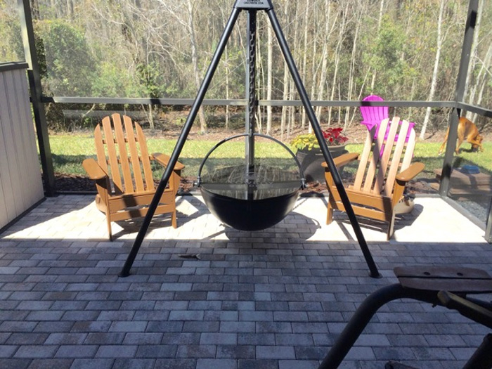 cowboy cauldron tripod hanging fire pit patio