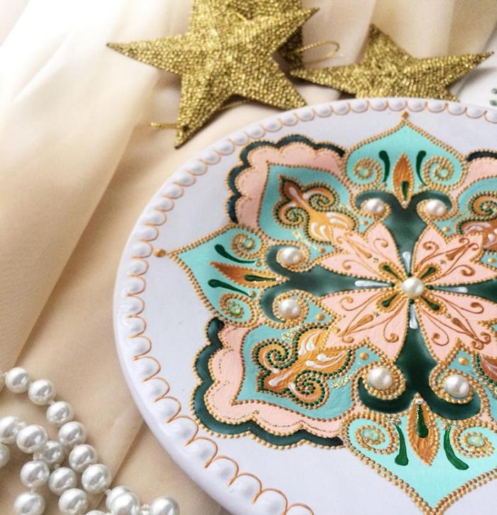 cream and blue mandala art ceramic plates anastasia safonov