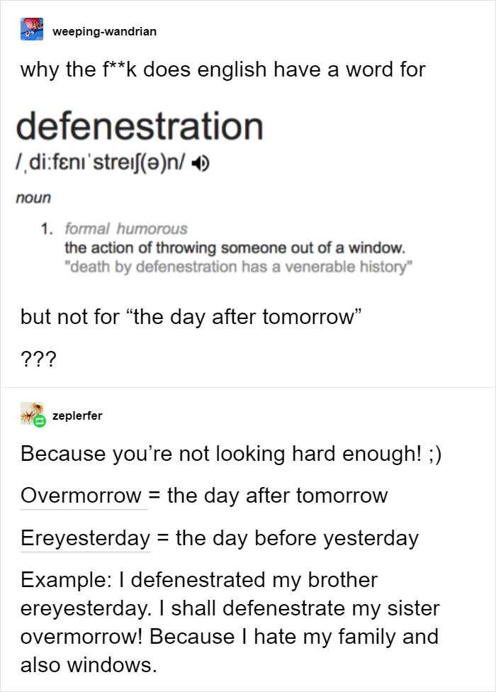 defenestration confusing english language