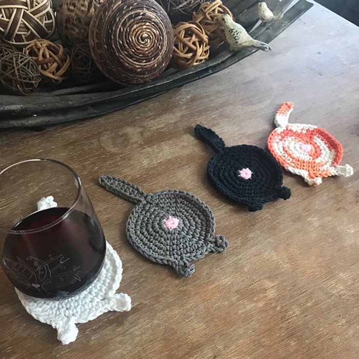 etsy crochet cat butt coasters different colors