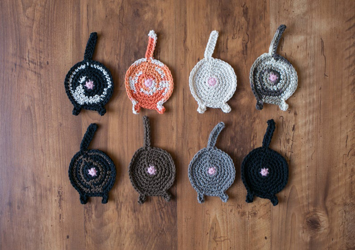 etsy crochet cat butt coasters