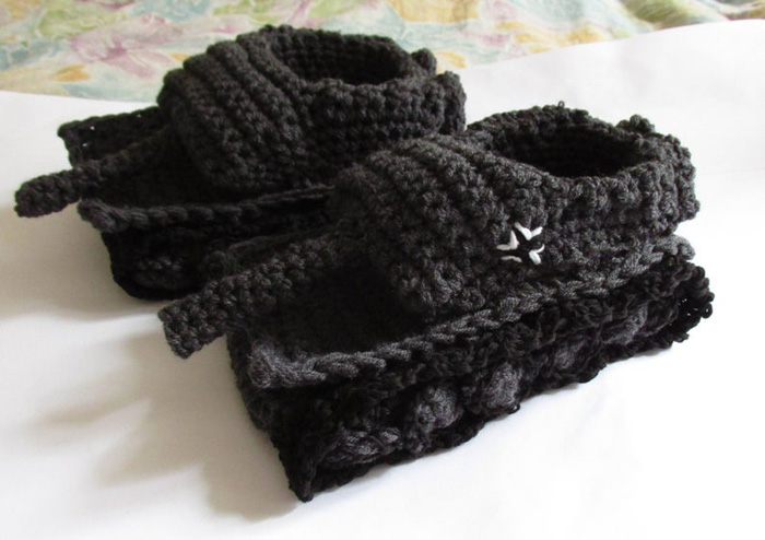 etsy crochet tank slippers dark grey black