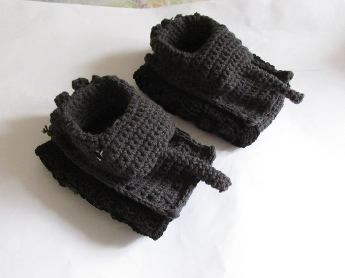 etsy crochet tank slippers dark grey