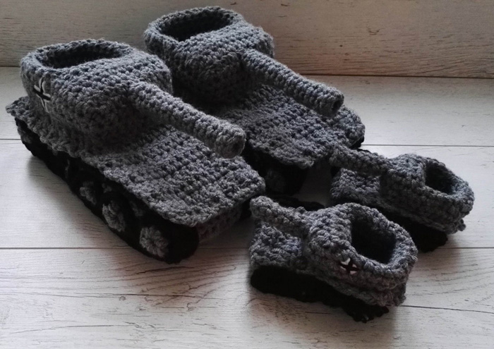 etsy crochet tank slippers father son matching