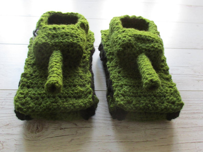 etsy crochet tank slippers green black