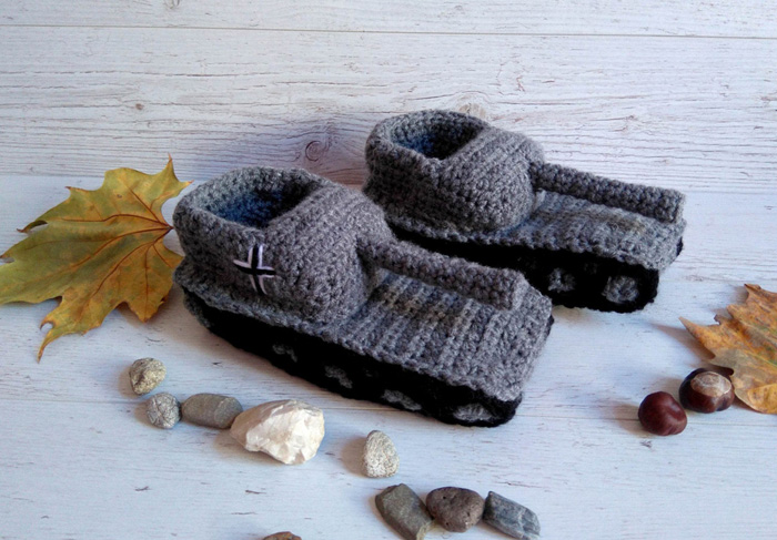 etsy crochet tank slippers grey black