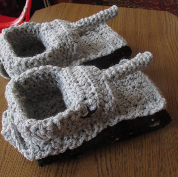 etsy crochet tank slippers light grey