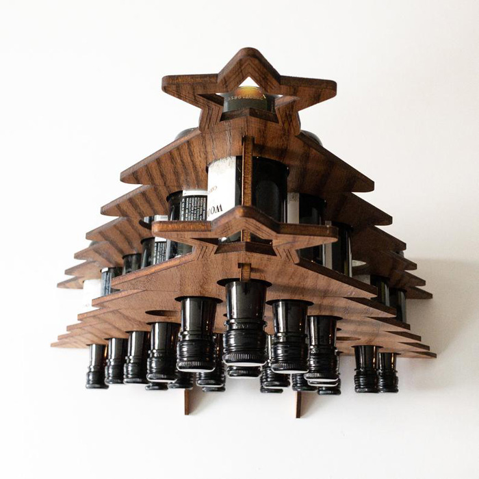 etsy wine bottle advent calendar wooden rack