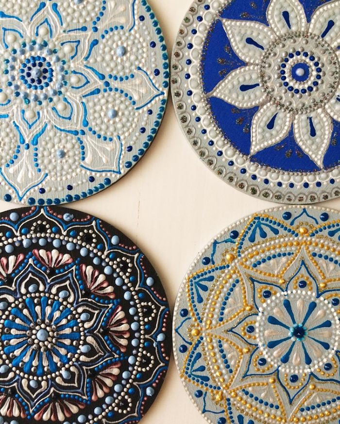 four blue touches mandala art ceramic plates anastasia safonov