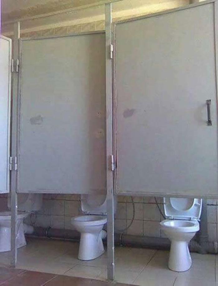 horribly configured toilet doors
