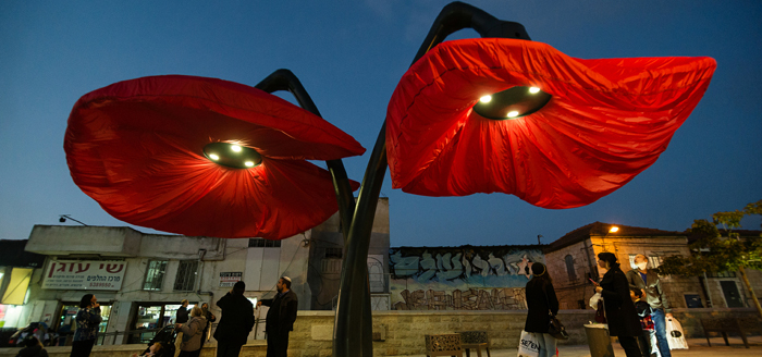hq architects warde giant urban flowers jerusalem