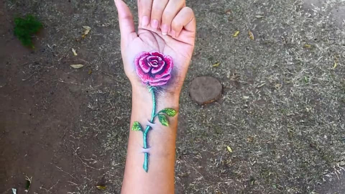 iantha naicker 3d hand paintings rose