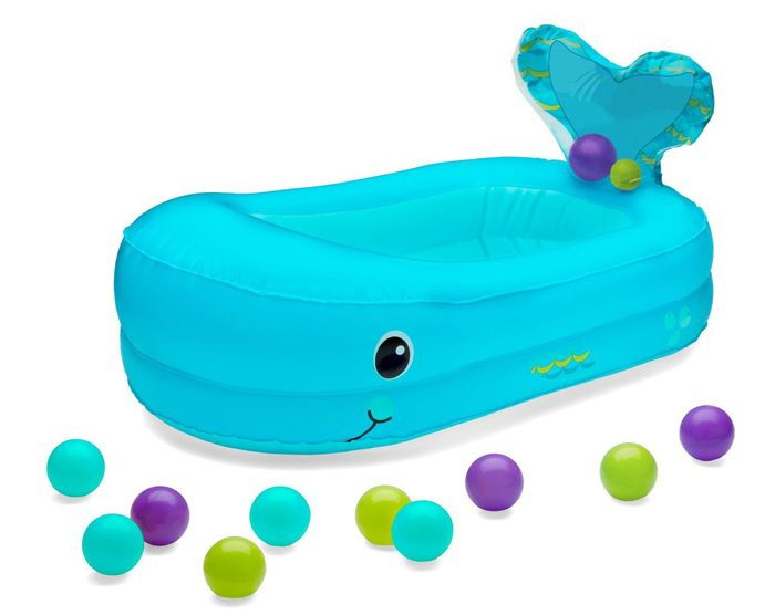 infantino inflatable whale baby bathtub blue