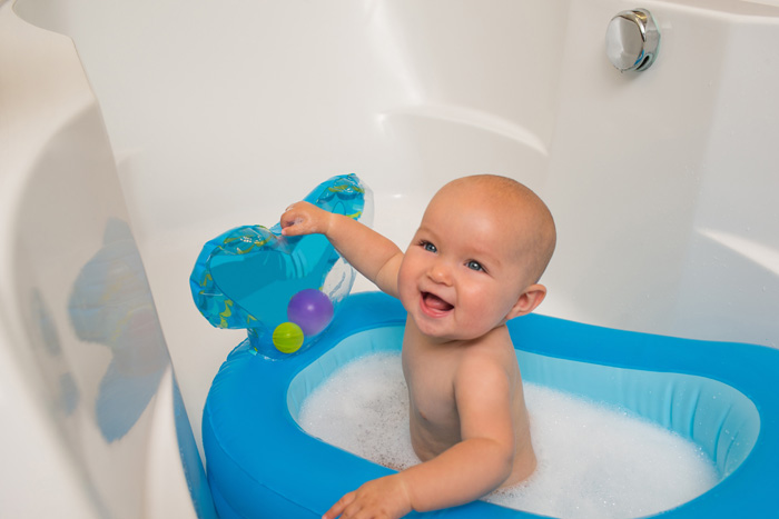 inflatable whale baby bathtub blue
