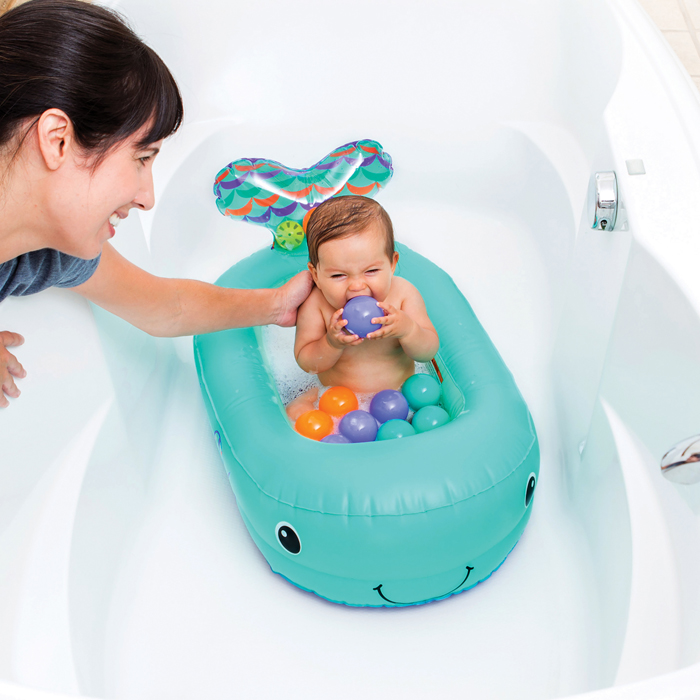 inflatable whale baby bathtub teal