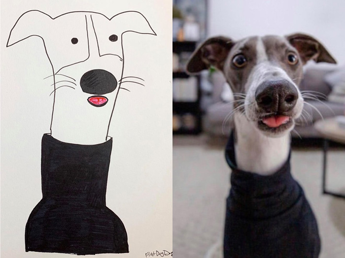 jay cartner flat dog doodles dog turtleneck