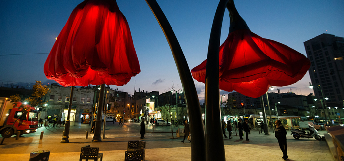 jerusalem warde giant urban flowers streetlights