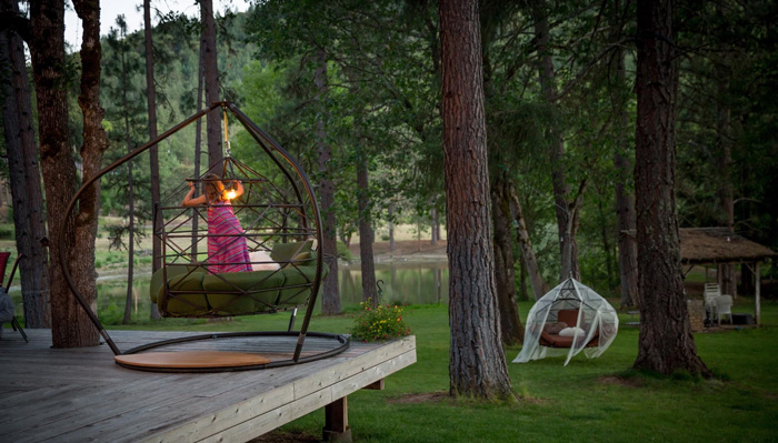 kodama zome outdoor hanging caged lounger trees