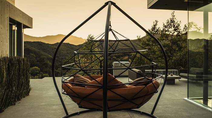 kodama zome outdoor hanging caged lounger with tripod stand