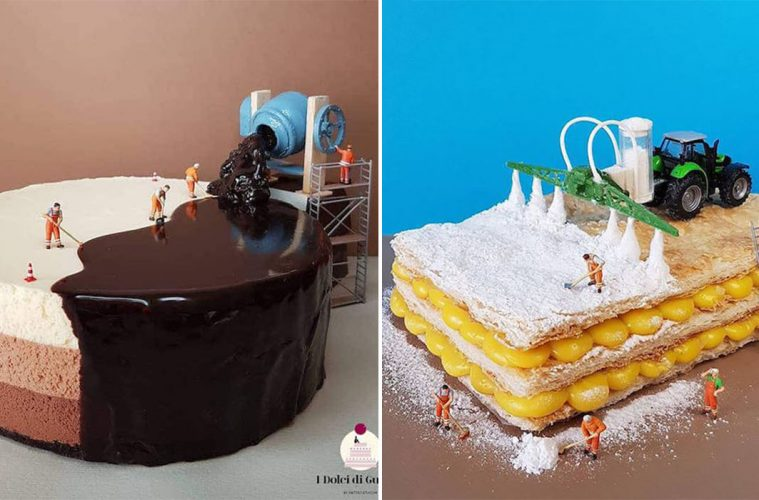miniature scenes on desserts