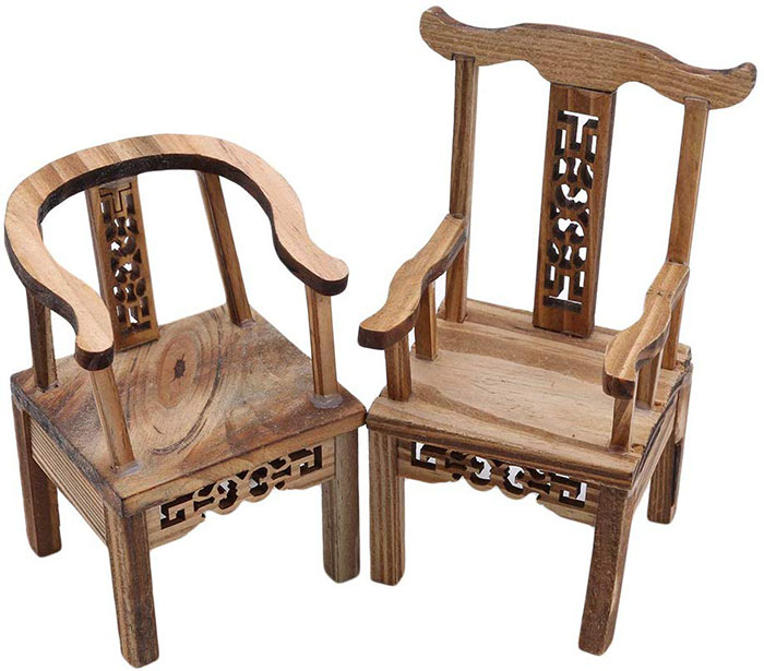 miniature wooden table and chairs