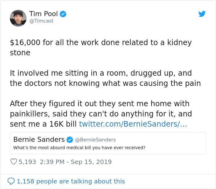most absurd medical bill bernie sanders comment tim pool