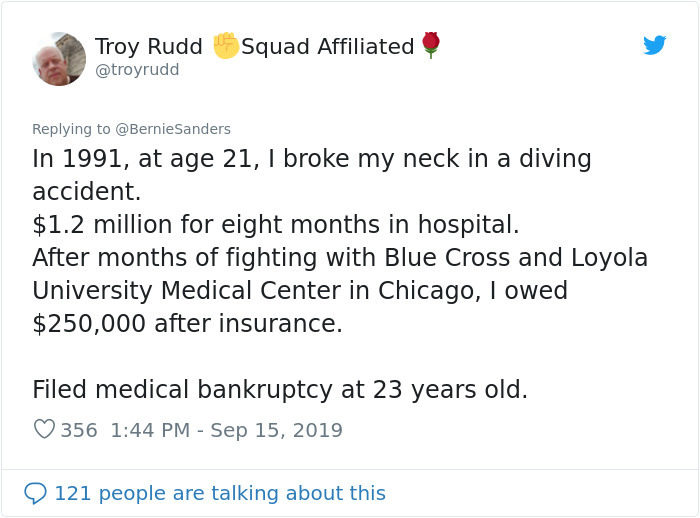most absurd medical bill bernie sanders comment troy rudd