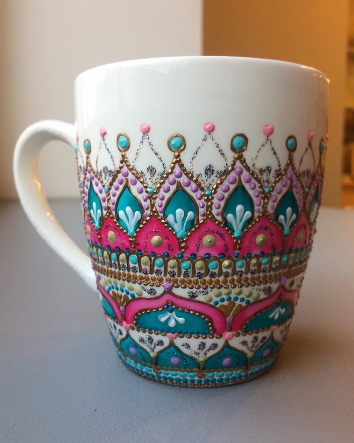 mug in blue and pink mandala art ceramic plates anastasia safonov