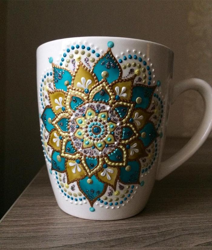 mug in blue mandala art ceramic plates anastasia safonov