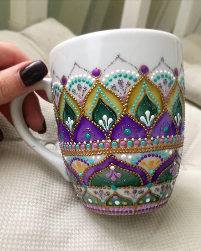 mug in purple and green mandala art ceramic plates anastasia safonov