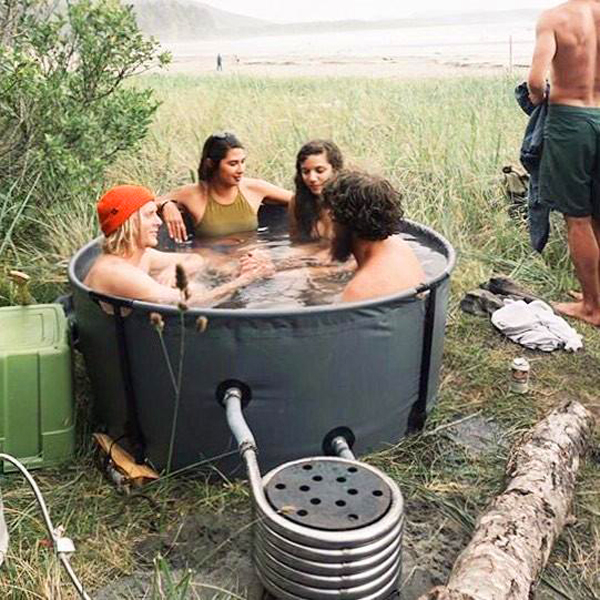nomad collapsible camping hot tub black