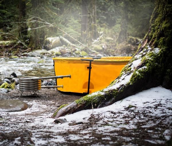 nomad collapsible camping hot tub winter camping