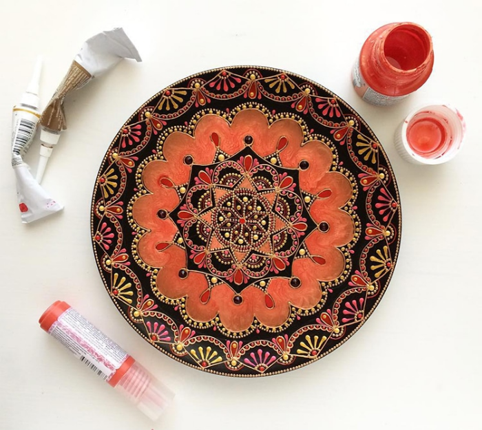 orange mandala art ceramic plates anastasia safonov