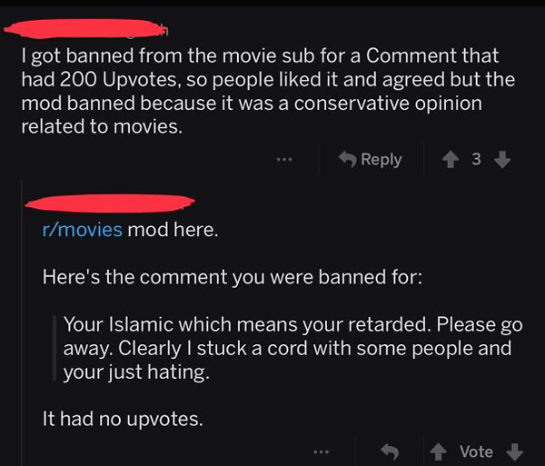 people being called out banned redittor