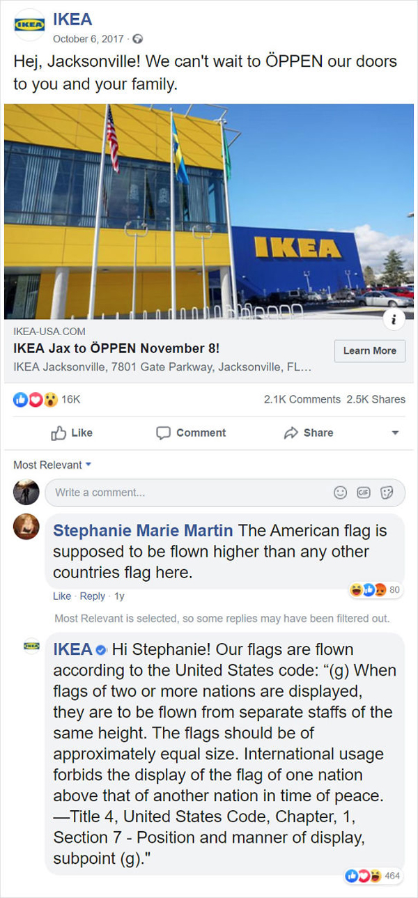 people being called out ikea us flag